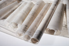 Rolled construction drawings Stock Image