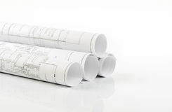 Rolled construction plans  Royalty Free Stock Photos