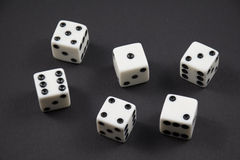 Rolled dice showing the numbers one to six Stock Photography