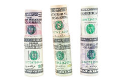 Rolled dollar banknotes on white background Stock Image