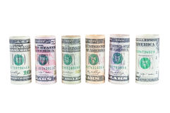 Rolled dollar banknotes on white background Royalty Free Stock Photo