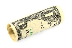 Rolled dollar bill Royalty Free Stock Photography