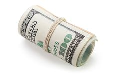 Rolled dollar currency. Rolled up paper dollar currency finance savings Stock Images