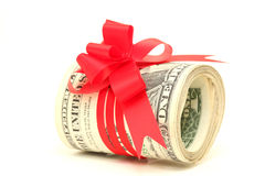 Rolled dollars gift Royalty Free Stock Photography
