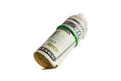 Rolled 20 Dollars with Rubber Isolated on White Stock Images