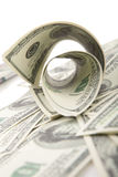 Rolled dollars on white Royalty Free Stock Photography