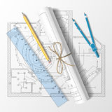 Rolled drafts with a pencil, a ruler and compasses. Vector illus Royalty Free Stock Images