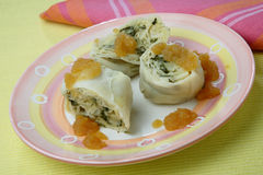 Rolled dumplings. With tarragon and jam Royalty Free Stock Photo