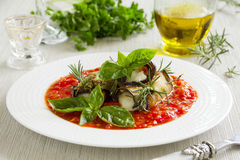 Rolled eggplant with mozzarella Stock Images