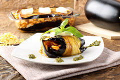 Rolled eggplant stuffed with pasta Royalty Free Stock Image