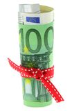 Rolled Euro banknote Stock Photo