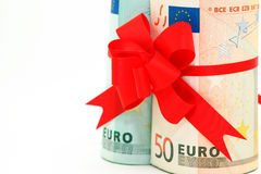 Rolled euro closeup Stock Images