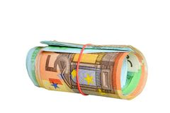 Rolled euro notes with a rubber ring Royalty Free Stock Image
