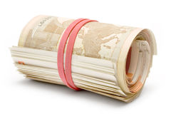 Rolled Euros Stock Photos