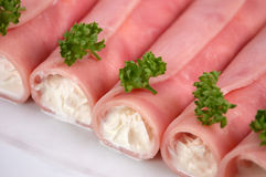 Rolled filled ham Stock Photos
