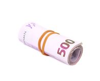Rolled five hundreds euro banknotes Stock Image
