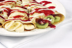 Rolled French Crepes With Banana And Kiwi Stock Image