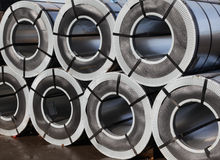 Rolled galvanized steel Stock Photo