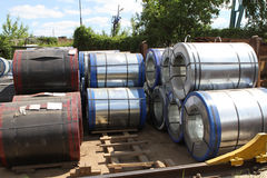 Rolled galvanized steel with polymer coating Royalty Free Stock Photos