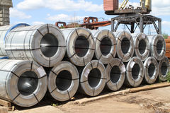 Rolled galvanized steel with polymer coating Royalty Free Stock Images