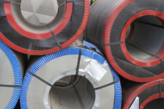 Rolled galvanized steel with polymer coating Stock Photo