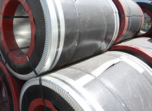 Rolled galvanized steel with polymer coating Stock Image