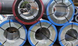 Rolled galvanized steel with polymer coating Royalty Free Stock Photography