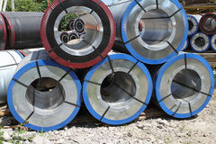 Rolled galvanized steel with polymer coating Stock Images