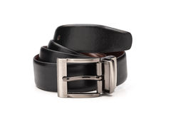 Rolled Glossy Black Faux Leather Belt royalty free stock image