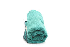 Rolled Green Towel Stock Photo