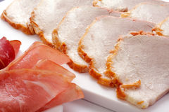 Rolled ham and salami Stock Image