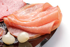 Rolled ham and salami Royalty Free Stock Photo