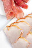 Rolled ham and salami Royalty Free Stock Images