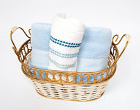 Rolled Hand Towels. In a gold basket stock photos