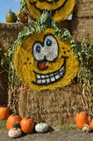 Halloween Hay Bale in Gervis, Oregon. This is a rolled hay bale at Bauman Farm in Gervis, Oregon decorated for Halloween with a pumpkin face in a display with Royalty Free Stock Photos