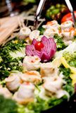 Rolled Herrings. Rollmops, rolled herring on a platter royalty free stock images