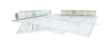 Rolled House Blueprints. Isolated Royalty Free Stock Image