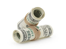 Rolled hundred dollar banknotes tied with Royalty Free Stock Photo
