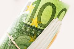 Rolled Hundred Euros Bills Stock Photography