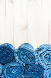 Rolled  jeans with copy space, close up Stock Photos