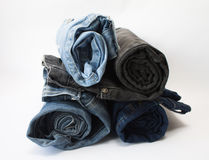 Rolled jeans Stock Image