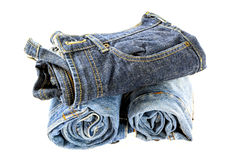 Rolled jeans isolate Royalty Free Stock Photos