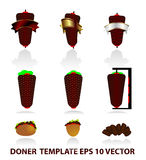 Rolled kebab icons. Turkish rolled kebab  icon Royalty Free Stock Photography