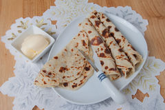 Rolled lefse served on a plate Royalty Free Stock Photos