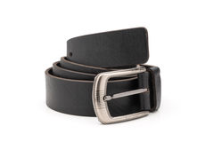 Rolled Matte Black Faux Leather Belt Royalty Free Stock Photography