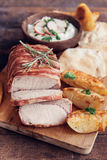 Rolled meat and potatoes Royalty Free Stock Images