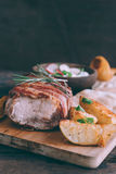 Rolled meat and potatoes Royalty Free Stock Photography