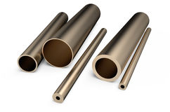 Rolled metal,  assortment  of  bronze pipes Royalty Free Stock Image