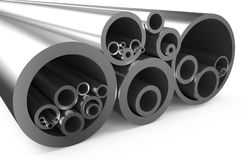 Rolled metal, assortment  of pipes Royalty Free Stock Image