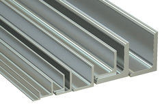 Rolled metal L-bar, angles. 3D rendering Stock Image